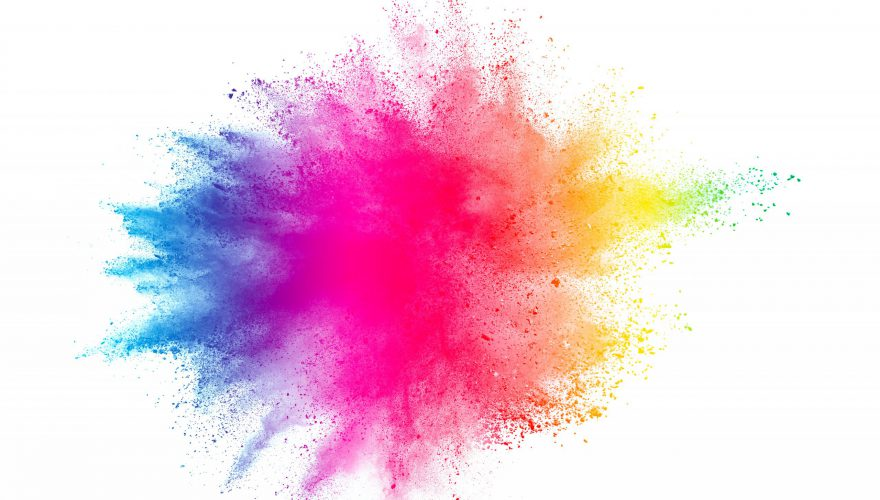 Freeze,Motion,Of,Colored,Powder,Explosions,Isolated,On,White,Background